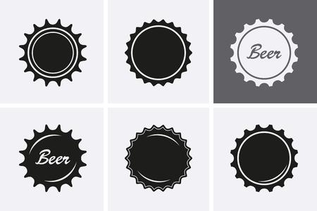 Bottle Cap Icons. Vector set, top view