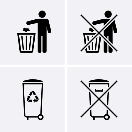 Trash Can Icons. Bin Icons. Do Not Litter. Waste Recycling. Vector for web