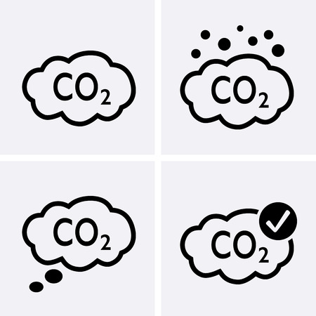 Co2 emissions Icons. Vector set