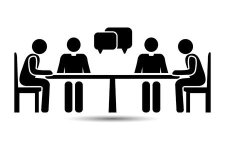 Talk people Icon, Vector people at a table talking Ilustracja