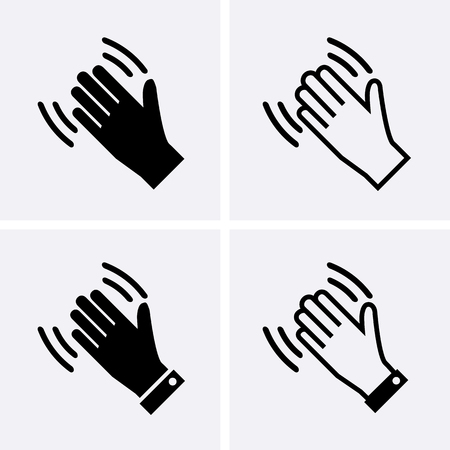Hand wave Icons, Waving hi or hello Vector Ilustracja