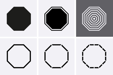 Octagon Icon set. Vector geometry 8 polygon logo.