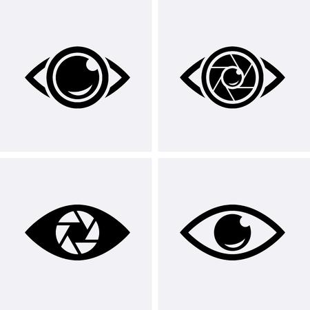 Camera Shutter, Lenses and Photo Camera Icons set. Photography logo, camera icon Vector