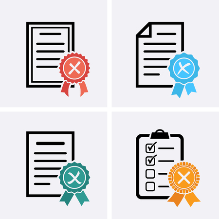 Reject or Certified Medal Icons, Check list. Vector flat set