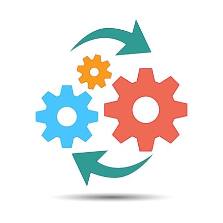 Icono plano de operaciones, gestión empresarial de Vector Ilustración de vector