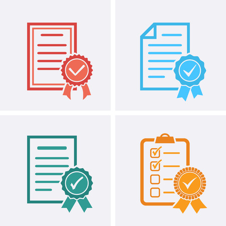 Approved or Certified Medal Icons, Check list. Vector flat set