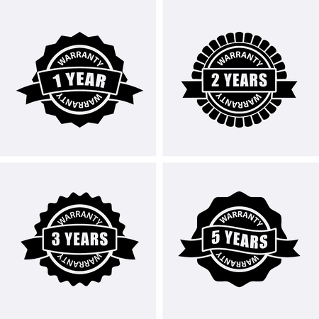 1, 2, 3 and 5 years Warranty Icons isolated on Certified Medal. Vector