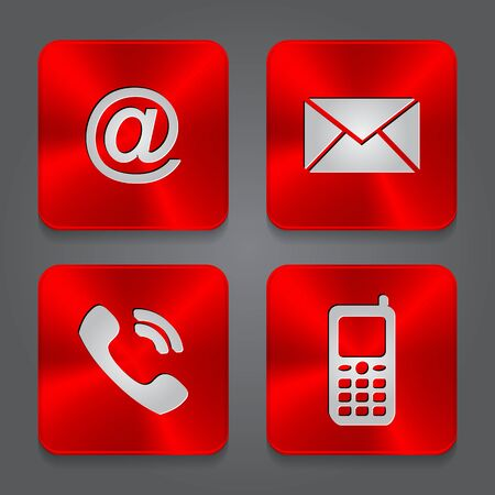 Metal contact buttons - set icons. Vector red metal texture