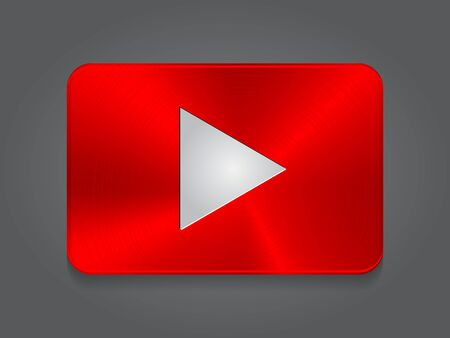 Metal red video play Icon. Vector card button player with metal texture 일러스트