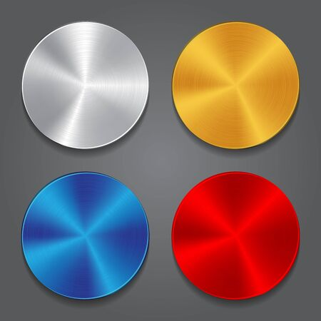 Cards with metal background. Vector blank button for design Ilustrace