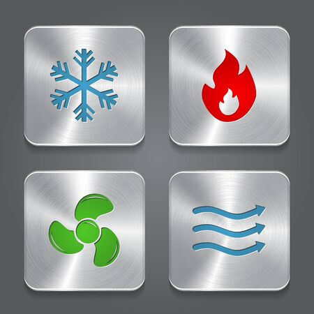 HVAC (heating, ventilating, and air conditioning) Icons. Heating and Cooling technology. Metal button icon. Vector  イラスト・ベクター素材