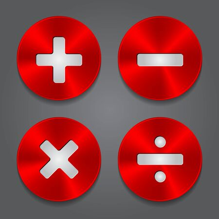 Plus, addition, multiply, subtract Icon. Vector red metal Icons Math Symbols.