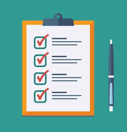 Check List Flat Icon. Vector checklist clipboard