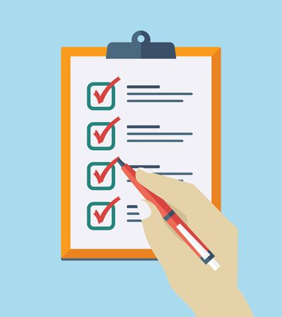 Check List Flat Icon. Vector checklist clipboard