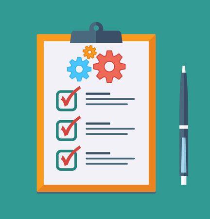 Technical support check list Icon. Vector checklist clipboard Иллюстрация