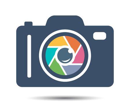Camera Shutter, Lenses and Photo Camera Icon. Flat Photography logo, camera icon Vector