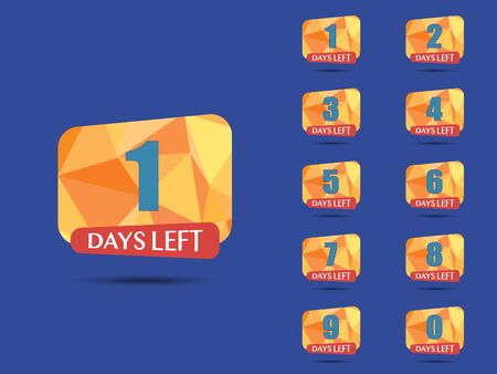 Days Left, countdown. Vector number days to go