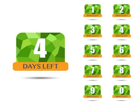 Days Left, countdown. Vector number days to go Reklamní fotografie - 131933248