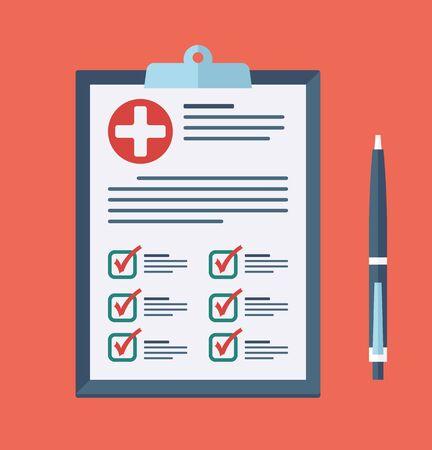 Medical report, Prescription, checkup Icon. Vector checklist health clipboard
