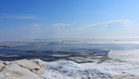 Landscape in the ice land. Beautiful winter sea