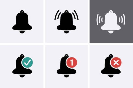 Notification Bell Icon set. Vector bell for message notice 일러스트