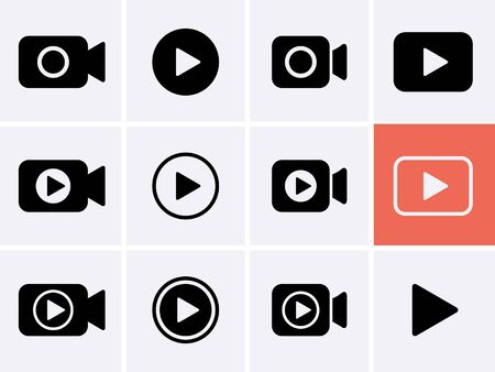 Video camera Icon set, Play Vector. Streaming icons