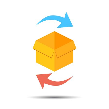 Package return Icon and exchange Icon. Vector box