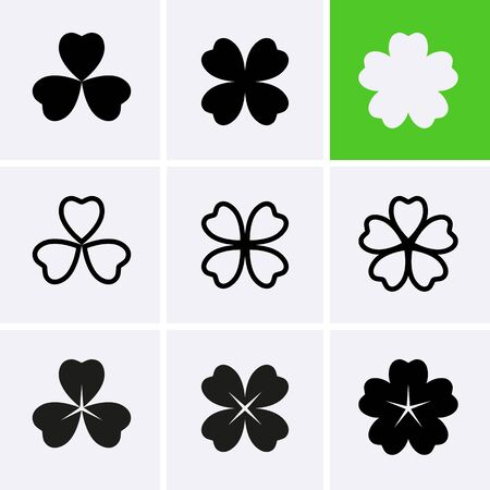 Flower Icons set. Clover Icon. Vector for design