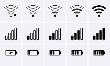 Phone bar status Icons, battery Icon, wifi signal strength. Vector for mobile phone 일러스트