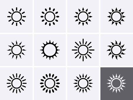 Sun Icons set. Vector clipart sunshine