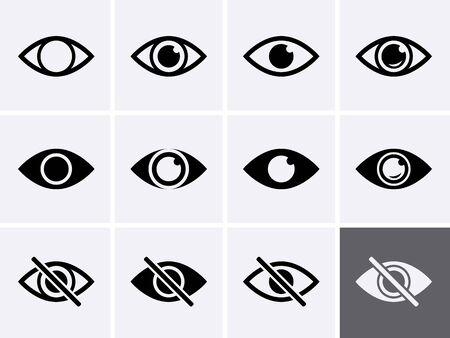 Eye Icons set. Vector eyeball vision