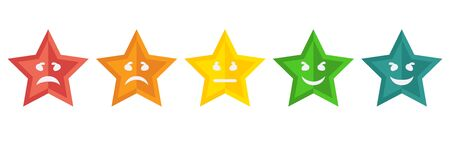 Feedback rating scale of emoticons. Smiley star Icons Vector  イラスト・ベクター素材