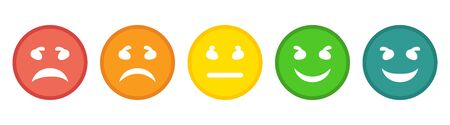 Feedback rating scale of emoticons. Smiley Icons Vector  イラスト・ベクター素材