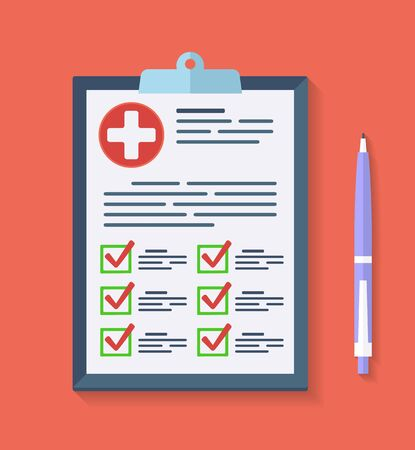 Medical report, Prescription, checkup Icon. Vector checklist health clipboard