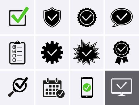Approve Icons set. Vector Icons as Check List 向量圖像