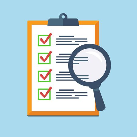 Search Icon on a report board, Audit review, Check List Icon. Vector flat design
