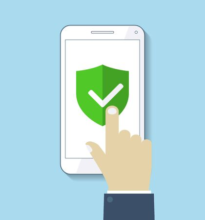 Hand holds mobile phone and finger touches screen. Green Shield. Flat vector design Banco de Imagens - 132126258