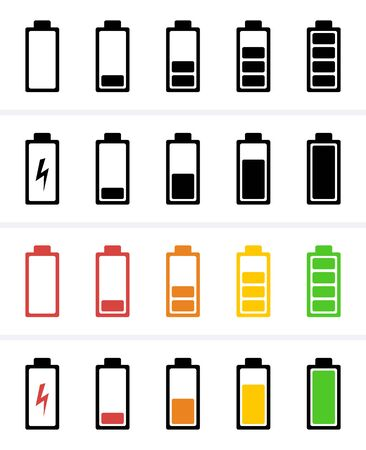 Battery Icon, charge level, phone bar status signal Icons. Vector for mobile