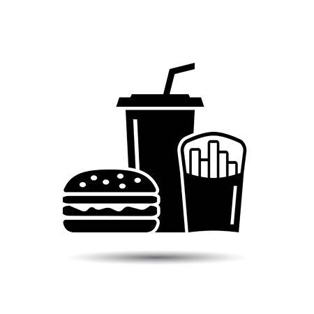 Fast food Icon set, Hamburger and Soda takeaway. Vector junk food