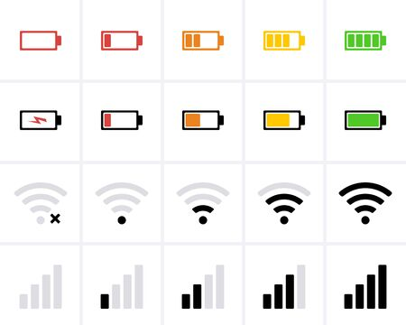 Phone bar status Icons, battery Icon, charge level, wifi signal strength. Vector for mobile