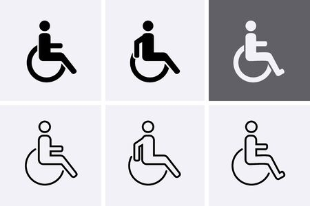 Handicapped Icons set. Disabled man symbol, wheelchair person Vector