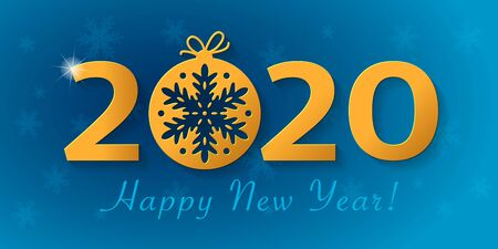 Happy New Year 2020 design with christmas ball with snowflake. Vector greeting card illustration