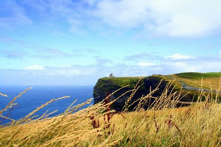 Cliffs of Moher looking north and rock Castle, in the west County Clare, Ireland. Stock Photo