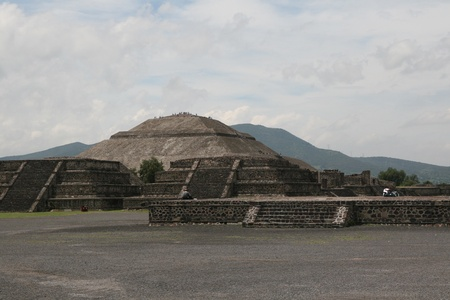 Pyramid of the Sun (second largest in the New World after the Great Pyramid of Cholula) in Teotihuacan (Teotihuac�n), archaeological site in the Basin of Mexico,with the largest pyramidal structures from pre-Columbian Americas. July 29th, 2010 Stock Photo - 11767089