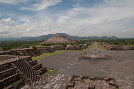 Pyramid of the Sun (second largest in the New World after the Great Pyramid of Cholula) in Teotihuacan (Teotihuacán), archaeological site in the Basin of Mexico,with the largest pyramidal structures from pre-Columbian Americas. July 29th, 2010 Stock Photo