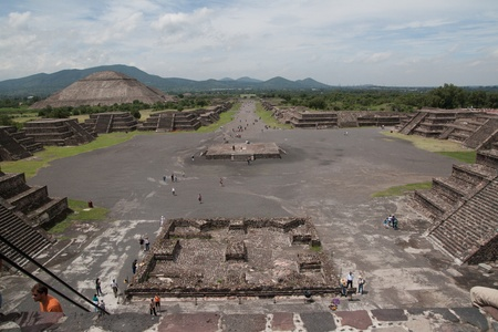 Teotihuacan (Teotihuac&aacute,n), archaeological site in the Basin of Mexico, with some of the largest pyramidal structures built in the pre-Columbian Americas, July 29th, 2011 Stock Photo - 11748725