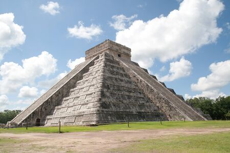 Temple of Kukulkan, often referred to as El Castillo (the castle), Chichen Itza (at the mouth of the well of the Itza), large pre-Columbian archaeological site built by the Maya. July 31st, 2010
