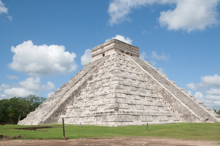 Temple of Kukulkan, often referred to as El Castillo (the castle), Chichen Itza (at the mouth of the well of the Itza), large pre-Columbian archaeological site built by the Maya. July 31st, 2010 photo
