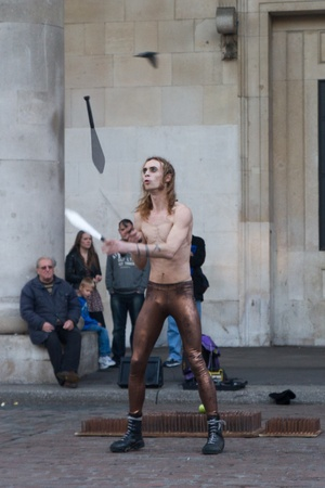 A street performer in front of Covent Garden market, London, UK, Sunday, November 13, 2011. Stock Photo - 11828177