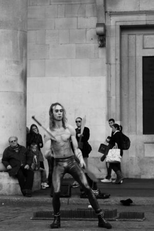A street performer in front of Covent Garden market, London, UK, Sunday, November 13, 2011. Stock Photo - 11828193